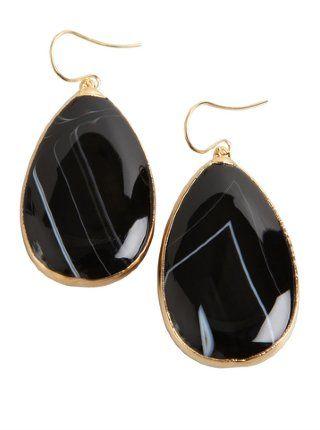 black and white striped agate teardrop earrings