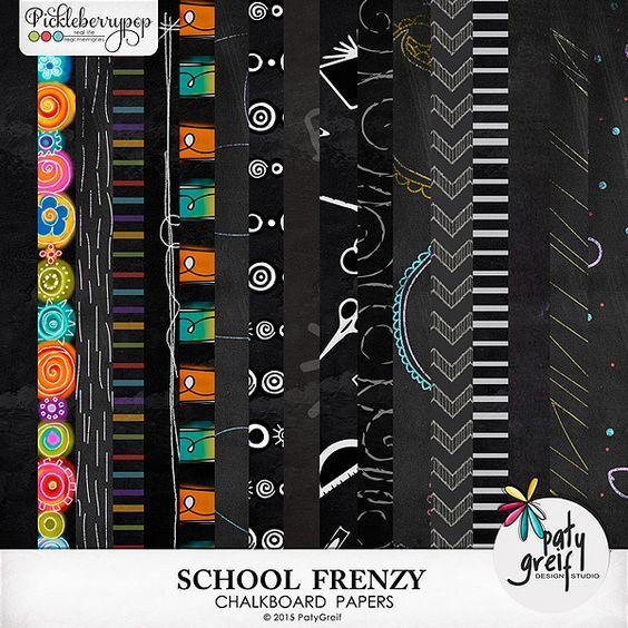 """School Frenzy """"Chalkboard Papers"""" by Paty Greif"""