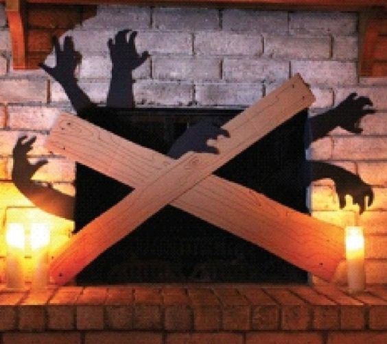 12 walking dead inspired zombie party ideas halloween for How to decorate your fireplace for halloween