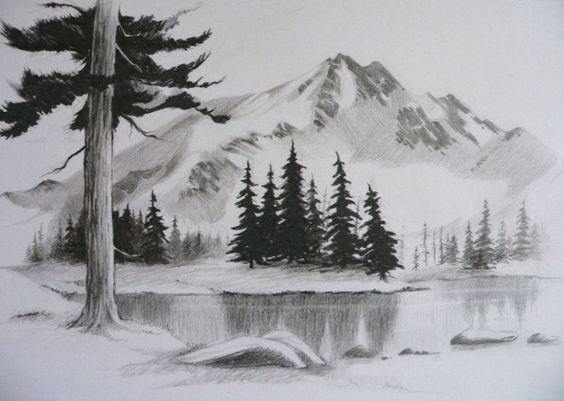 Sketsa Pemandangan Alam Gunung