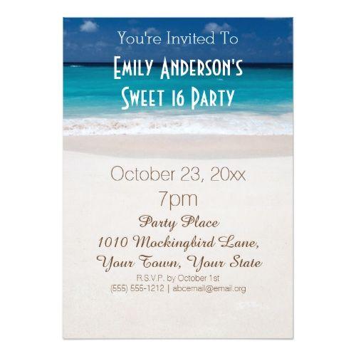 Summer Beach Theme Blue Sweet 16 Birthday Invitation Zazzle Com