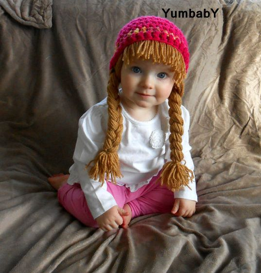 Curly Top Crochet Hat Handmade Hot Pink Toddler Size Cabbage Patch