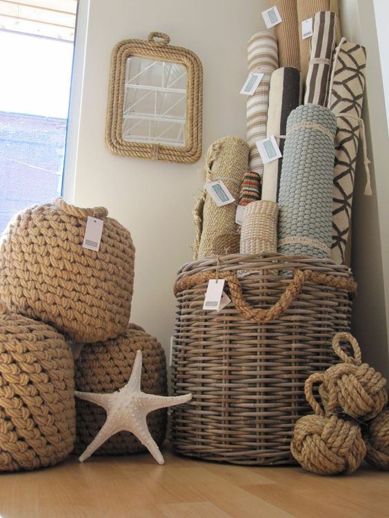 Rope Accessories And Rugs Make Nautical Bathroom Nautical Pinterest
