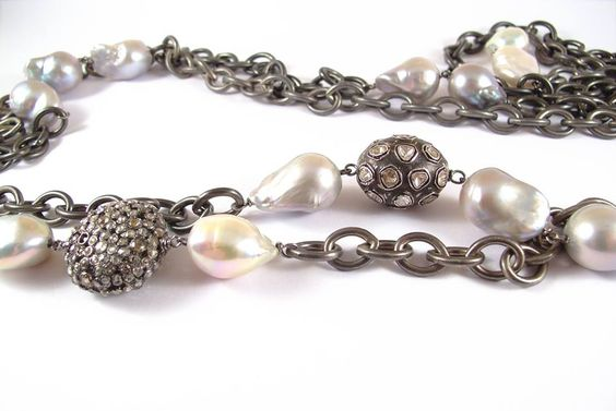 Robin Labb Diamonds, oxidized sterling links and pearls.