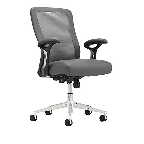 Realspace R Modern Comfort Series Cassia Mid Back Mesh And Bonded Leather Chair Gray Chrome Leather Chair Bonded Leather Chair Chair