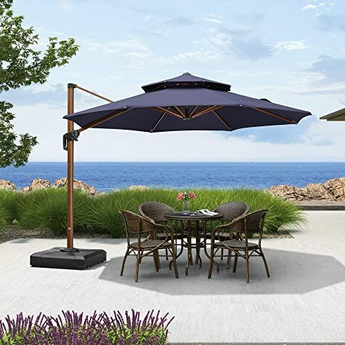 The Purple Leaf 11ft Patio Umbrella Outdoor Round Umbrella Large Cantilever Umbrella Windproof Offset Umbrella Heavy Duty Sun Umbrella Garden Deck Pool Patio In 2020 Patio Cantilever Patio Umbrella Patio Umbrella