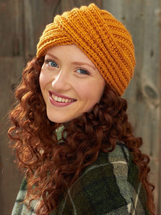 Knitted Turban Pattern Free : Yarnspirations.com - Bernat Turban Twist Hat - Patterns Yarnspirations PU...
