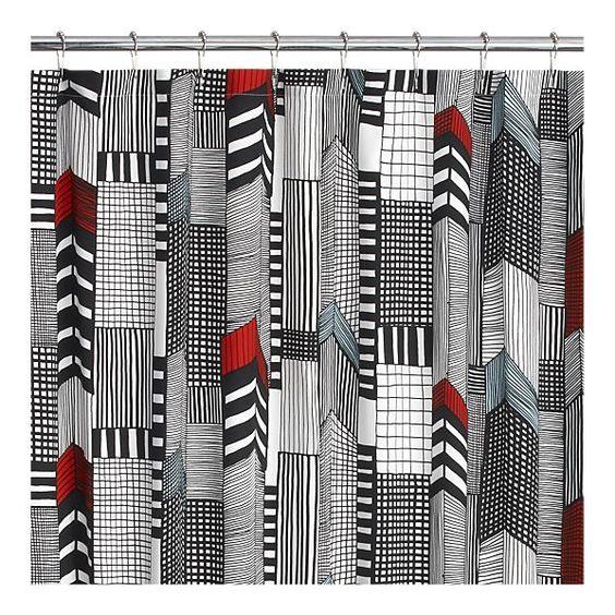 Shower Curtains crate and barrel shower curtains : Marimekko® Ruutukaava Shower Curtain via Crate & Barrel $42.95 ...