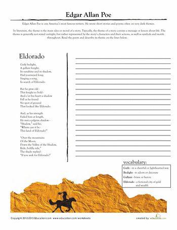 edgar allan poe worksheets and middle school reading on pinterest. Black Bedroom Furniture Sets. Home Design Ideas