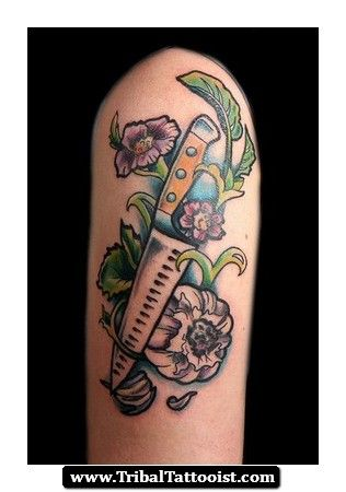 Tribal Chef Knife Tattoo 02