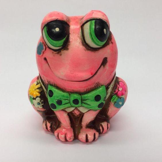 Vintage Pink Flower Power Frog Piggy Coin Bank OSL Japan 1967 with Stopper | eBay