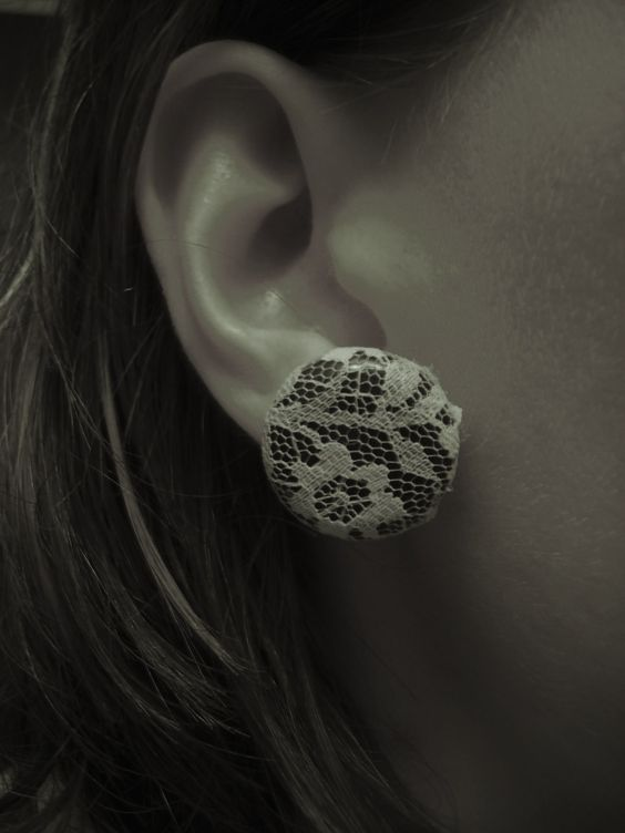 lace covered button ear rings