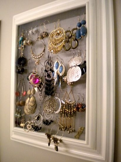 Jewelry organization using frames and screen material