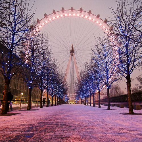 London Eye during the winter.