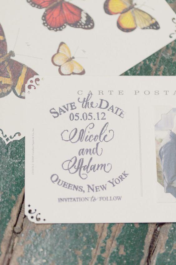 #save-the-date, #butterfly  Photography: Elisabeth Millay Photography - elisabethmillay.com Wedding Planning: Green Apple Weddings - greenappleweddings.com Floral Design: Saipua - saipua.com  Read More: http://www.stylemepretty.com/2012/09/20/metropolitan-building-wedding-from-elisabeth-millay-photography/