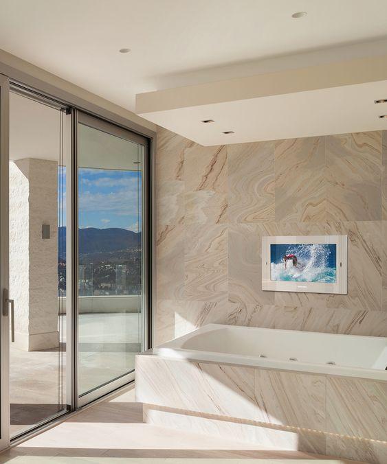 Why You Should Buy A Bathroom Tv Darbylanefurniture Com In 2020 Tv In Bathroom Electric Mirror Mirror Tv
