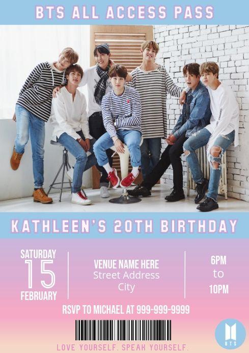 Bts Birthday Invitation Card Bts Template Bts Invitation Card Bts Party Supply Party