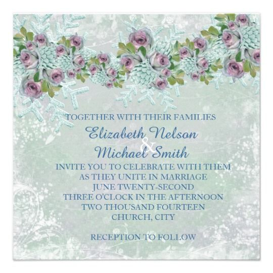 Christmas Frosty Silver Roses Wedding Invite