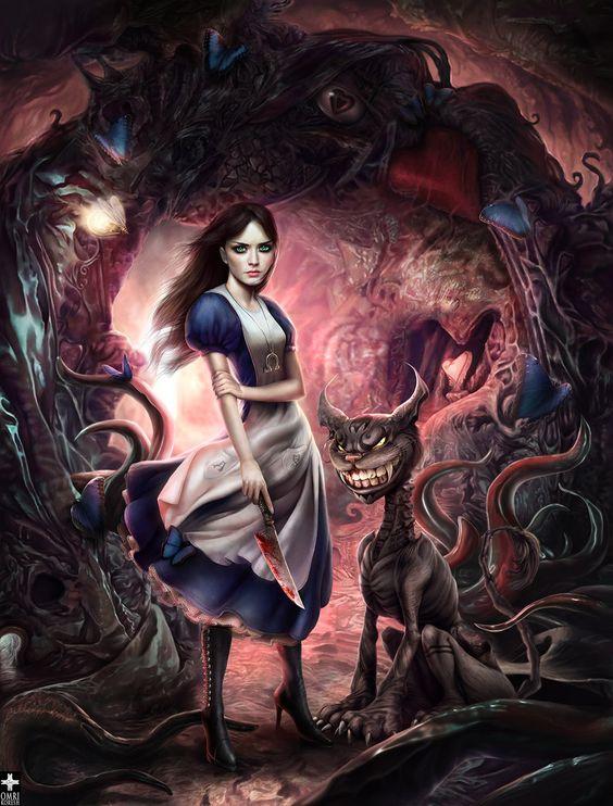 Me encanta el Vidoejuego Alice America McGee´s. Y me encanta el diseño de la nueva Alicia. Una muchacha atormentada, de aspecto fragil, pero a la vez determinada, con unos enormes y emotivos ojos verdes. Uno de mis carácteres favoritos.