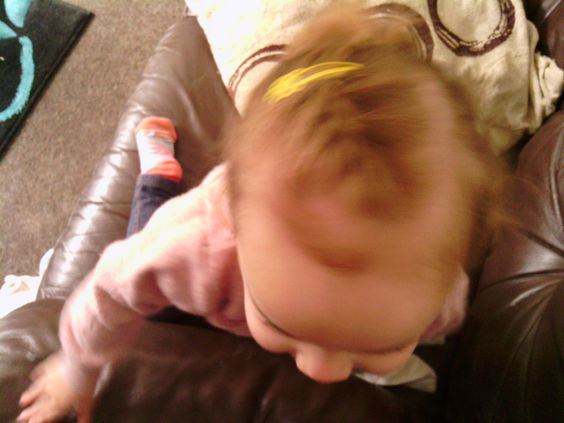 Letting me do her hair-