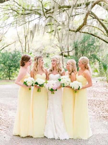 Pretty Light Yellow Spaghetti Strap Sweet Heart Long Bridesmaid Dresses , BW0430 #bridesmaiddress #bridesmaiddresses #sweetheart