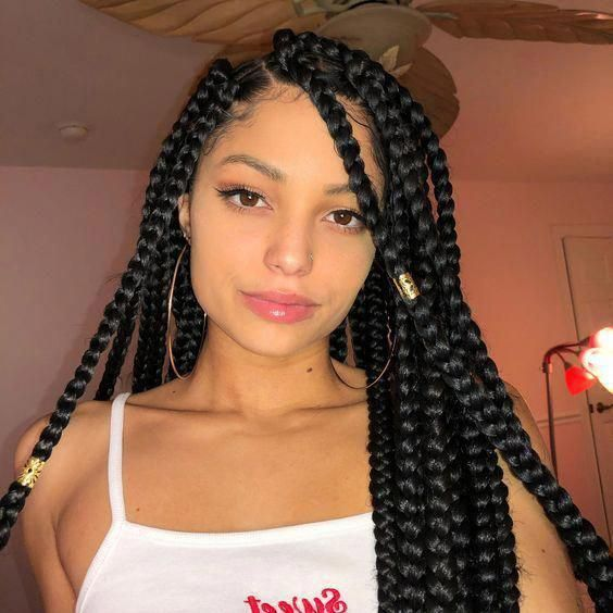 Cute Box Braid Hairstyles Howtobraidhair In 2020 Hair Styles Braided Hairstyles Box Braids Hairstyles