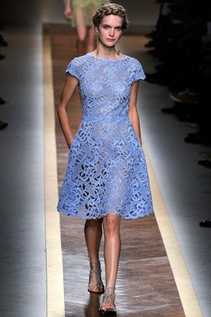 Valentino S/S 2012 Ready To Wear blue lace dress