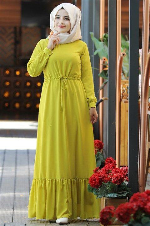 Elisa Elbise Sari Smy08 Modavina Tesettur Giyim Elbise Modelleri Elbise Basortusu Modasi