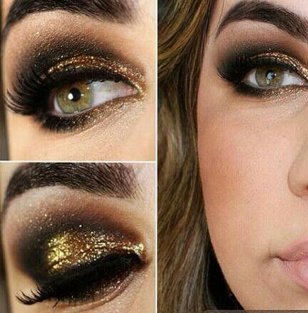 Maquillaje para vestidos negro con dorado