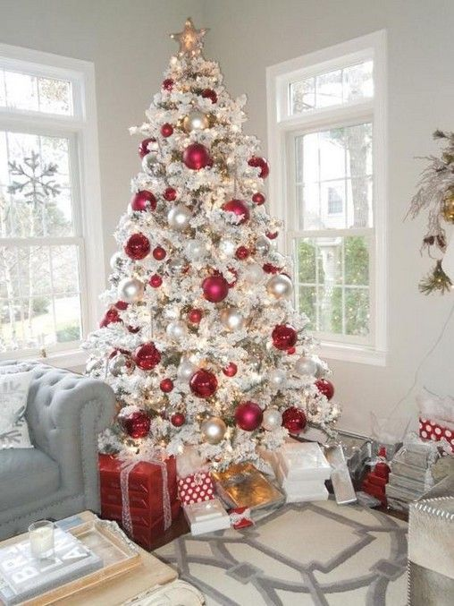 26 Awesome Red And White Christmas Decoration Ideas White Christmas Tree Decorations Flocked Christmas Trees Decorated Flocked Christmas Trees