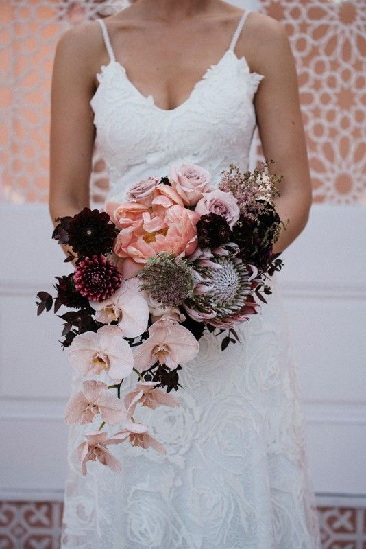 A Magical Wedding At The Joinery Brisbane Pink Coral Charm Peony And Orchid Bridal Floral Arrangements Wedding Orchid Bridal Bouquets Orchid Bouquet Wedding