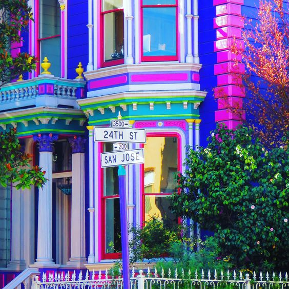 Colorful Victorian On 24th Street And San Jose In The Mission District In San Francisco I Love How They Painted T House Colors Victorian Homes Colorful Places