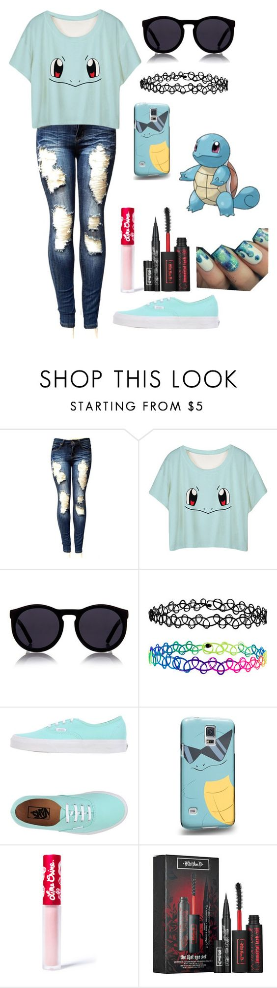 """""""Squirtle Squad"""" by bandom-stuff ❤ liked on Polyvore featuring Le Specs, Accessorize, Vans, Samsung, Lime Crime and Kat Von D"""