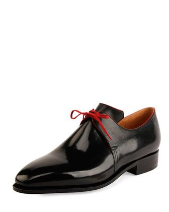 Arca+Calf+Leather+Derby+Shoe+with+Red+Piping,+Black+by+Corthay+at+Neiman+Marcus.