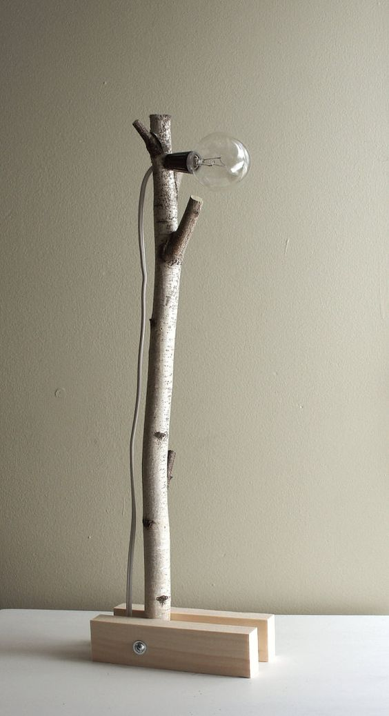 Wall Desk Lamp: exposed bulb woodland wall/desk lamp natural by urbanplusforest, $120.00,Lighting