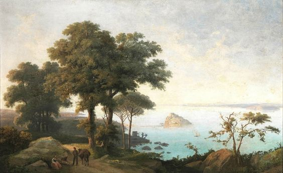 Salvatore Fergola, (Naples 1799 - 1874) View of Nisidia, 1954, Oil on Canvas 90com x 140cm  http://www.pandolfini.it