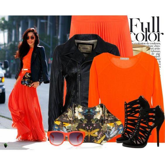 """""""Maxi Style Orange Jacket..."""" Hallie Daily Blogger Style - Polyvore"""