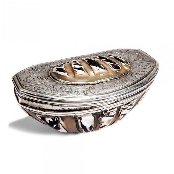 Standhaft & Treu Schnupftabakdose um 1760 Schnecke Silber Shell Snuff Box…