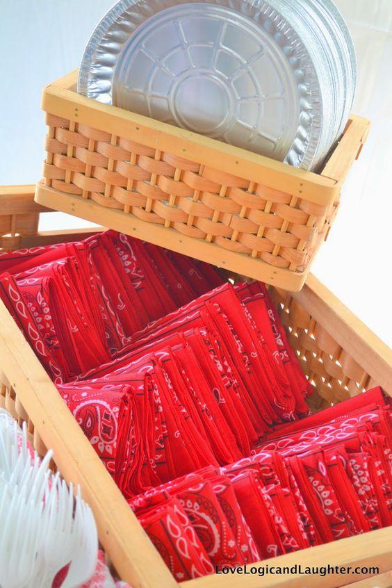 Using Pie Tins as Plates and Bandanas as Napkins for a Beer Boots and BBQ Party or 4th of July Grill out- Link for Menu and Decor Ideas