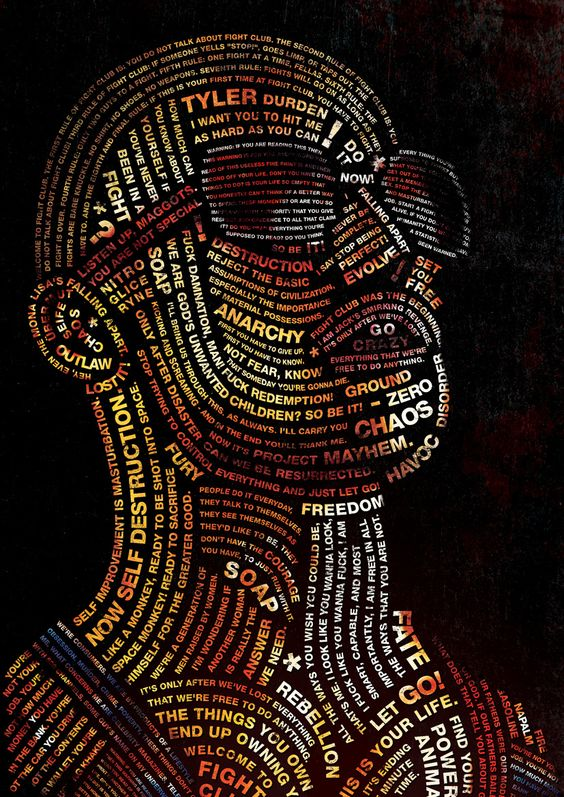 Typography Portrait of Tyler Durden from Fight Club
