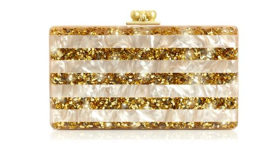 Mother-of-pearl & Gold Acylic Clutch, by Edie Parker. Available at ahalife.com