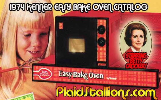 """Plaid Stallions ©1974 Kenner® Easy-Bake Oven Catalog Pages [Doll Bake Set #1540, Baking Kit #1530, Kiddie Fondue® """"No Electricity, No batteries, uses Hot Water"""" #1560]"""