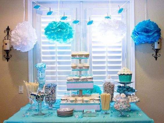 baby shower sweets tables dessert table tiffany blue and white