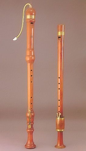 Bass recorders. The one on the right is a G bass made in about 1550