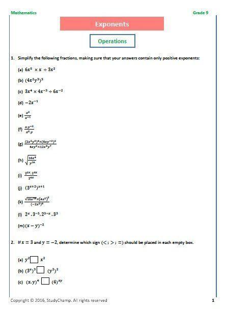 Grade 9 Mathematics Exponents Math Addition Worksheets Mathematics Exponents