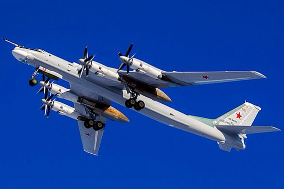 A Russian Air Force Tupolev Tu-95MS Bear Bomber. The Tu-95 is one of the very few mass-produced propeller driven aircraft with swept wings.