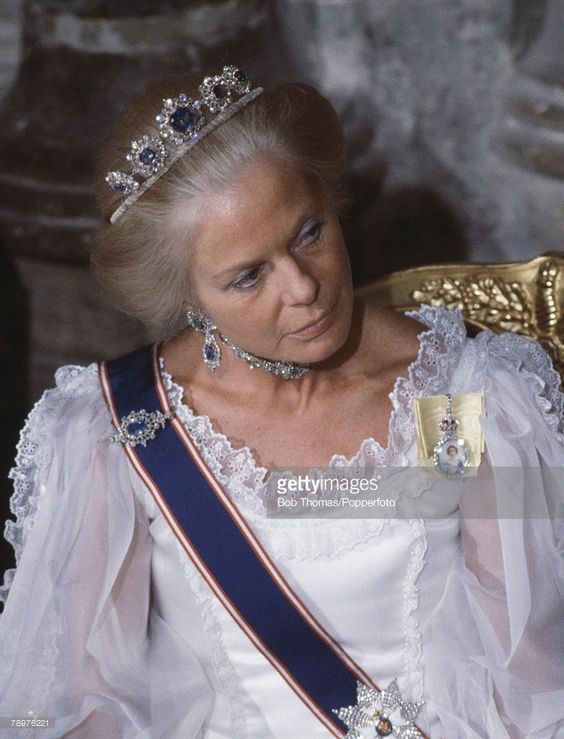 British Royalty, The Guildhall, London, April 1984, The Duchess of Kent attending a State Banquet  (Photo by Bob Thomas/Popperfoto/Getty Images)