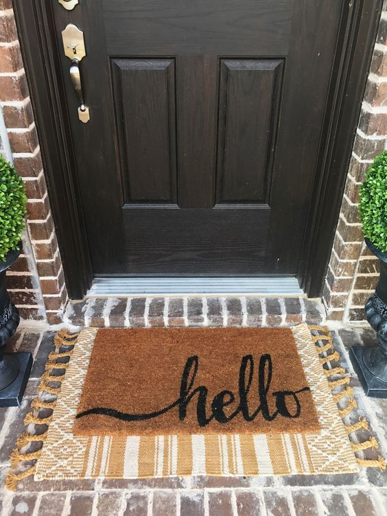 Add A New Doormat To Freshen Up Your Porch For Fall Fallporch Doormat Falldecor Outdoorfalldecor Front Door Mats Front Door Rugs House With Porch