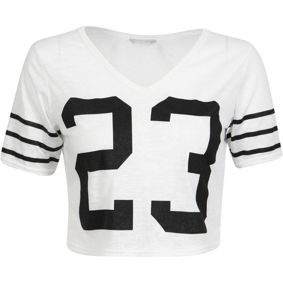 White Cropped Number Print Tee (€10) ❤ liked on Polyvore featuring tops, t-shirts, shirts, crop tops, blusas, short sleeve shirts, white crop top, v neck t shirts, white shirt and print t shirts
