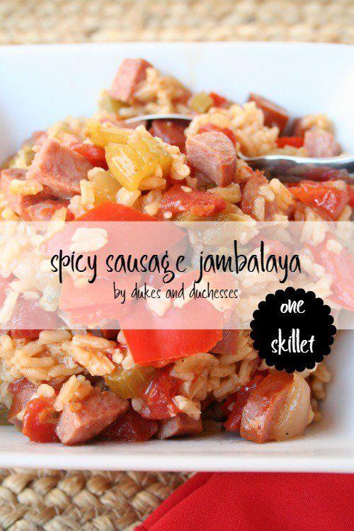one skillet spicy sausage jambalaya